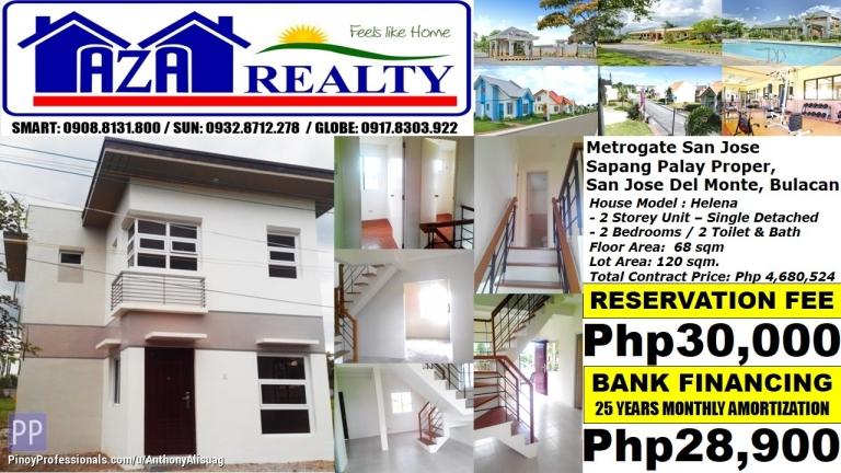House for Sale - Php 29K/Month Helena 2BR Single Detached Metrogate San Jose Del Monte Bulacan