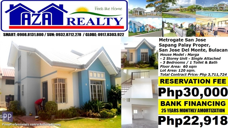 House for Sale - Php 23K/Month Marga 3BR Single Attached Metrogate San Jose Del Monte Bulacan