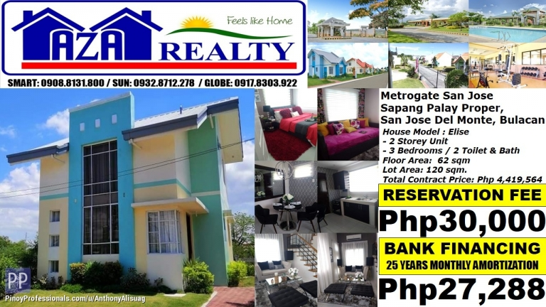 House for Sale - Php 27K/Month Elise 3BR Single Attached Metrogate San Jose Del Monte Bulacan