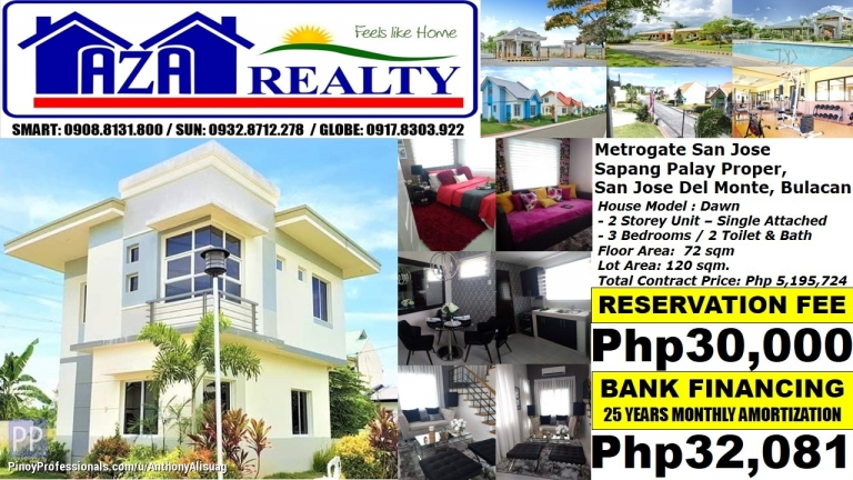 House for Sale - Php 30K/Month Dawn 3BR Single Detached Metrogate San Jose Del Monte Bulacan