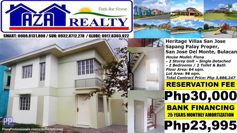 House for Sale - Php 24K/Month Fiona 2BR Single Detached Heritage Villas San Jose Del Monte Bulacan