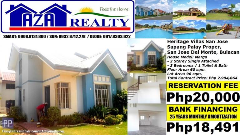 House for Sale - Php 18K/Month Marga 3BR Single Detached Heritage Villas San Jose Del Monte Bulacan