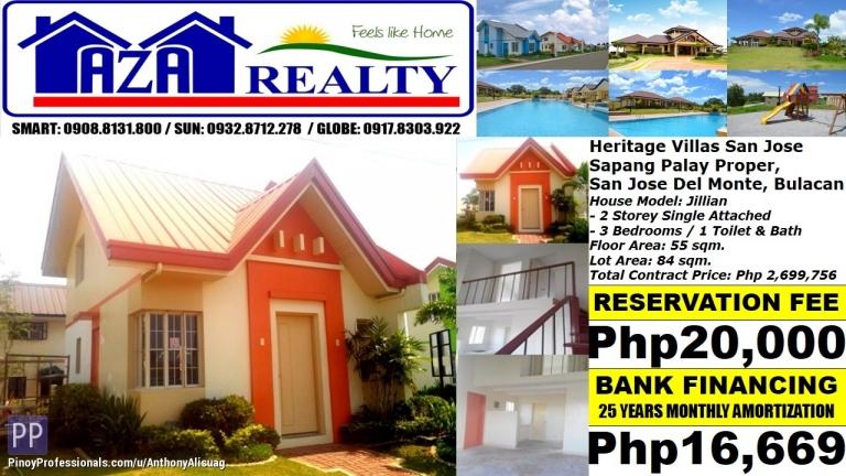House for Sale - Php 17K/Month Jillian 3BR Single Attached Heritage Villas San Jose Del Monte Bulacan