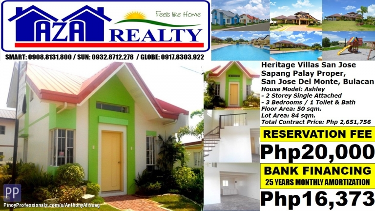 House for Sale - Php 16K/Month Ashley 3BR Single Attached Heritage Villas San Jose Del Monte Bulacan