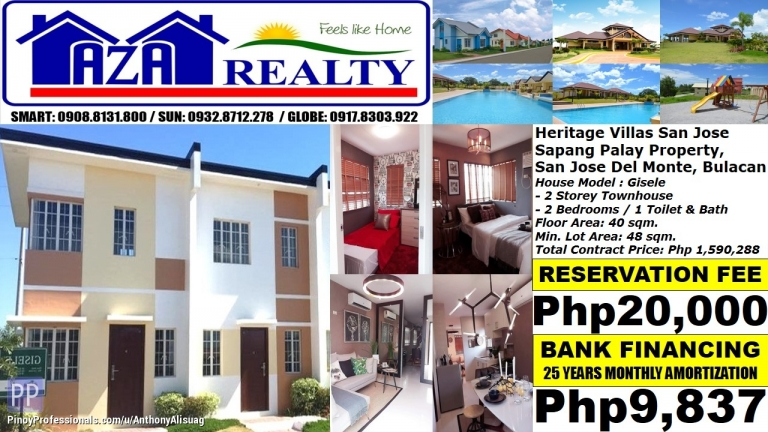 House for Sale - Php 10K/Month Gisele 2BR Townhouse Heritage Villas San Jose Del Monte Bulacan