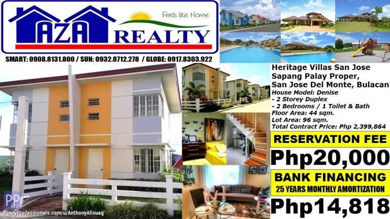 House for Sale - Php 15K/Month Denise 2BR Duplex Heritage Villas San Jose Del Monte Bulacan