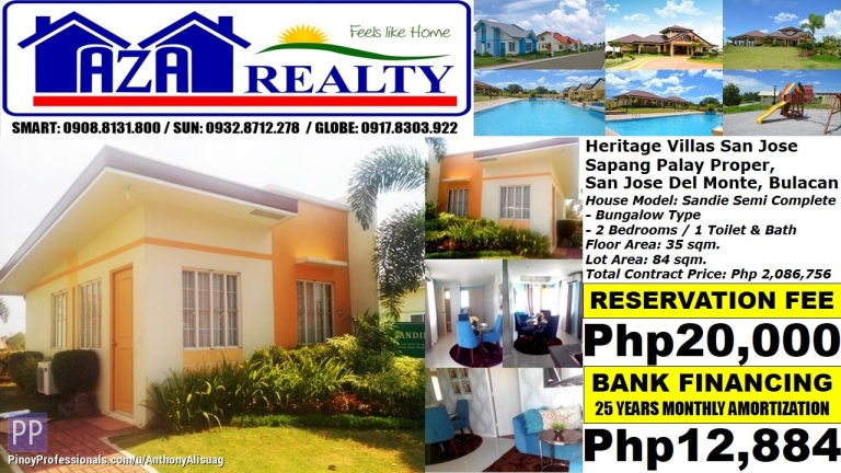 House for Sale - Php 13K/Month Sandie 2BR Bungalow Heritage Villas San Jose Del Monte Bulacan