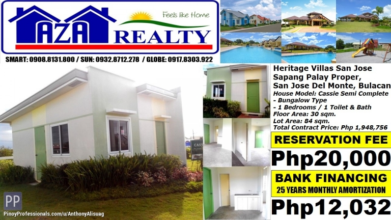 House for Sale - Php 12K/Month Cassie 1BR Bungalow Heritage Villas San Jose Del Monte Bulacan