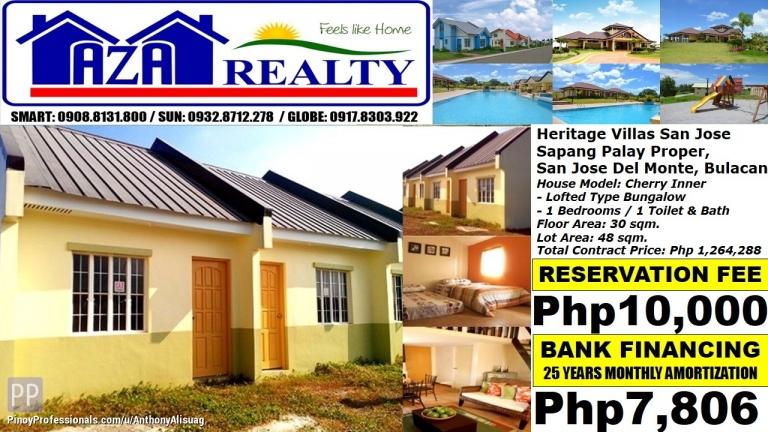 House for Sale - Php 8K/Month Cherry 1BR Bungalow Heritage Villas San Jose Del Monte Bulacan