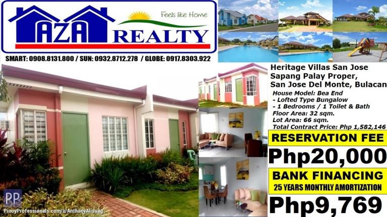 House for Sale - Php 10K/Month Bea End 1BR Bungalow Heritage Villas San Jose Del Monte Bulacan