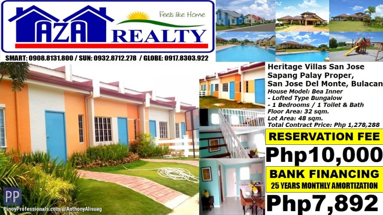 House for Sale - Php 8K/Month Bea Inner 1BR Bungalow Heritage Villas San Jose Del Monte Bulacan