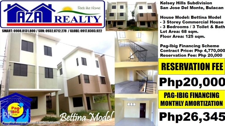 House for Sale - Php 26,345/Month 3BR 3 Storey Bettina Kelsey Hills San Jose Bulacan