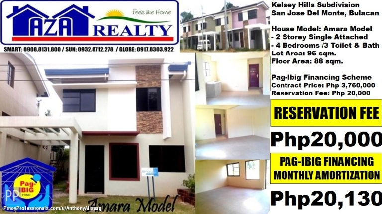 House for Sale - Php 20,130/Month 4BR Single Attached Amara Kelsey Hills San Jose Bulacan