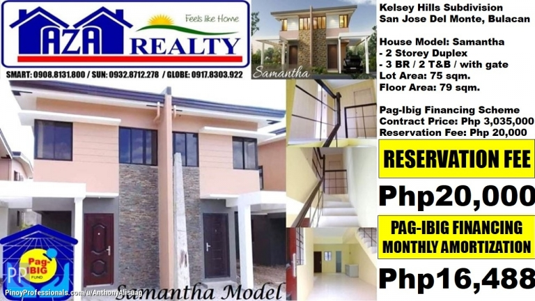 House for Sale - Php 16,488/Month 3BR Duplex Samantha Kelsey Hills San Jose Bulacan