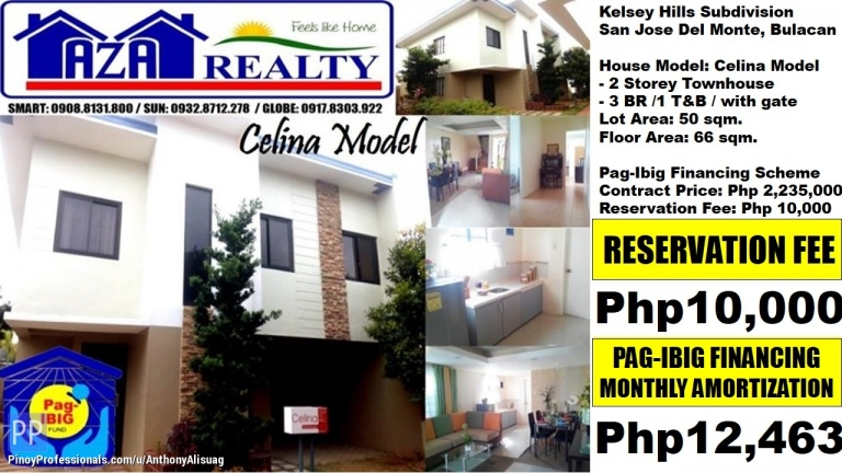 House for Sale - Php 12,463/Month 3BR Townhouse Celina Kelsey Hills San Jose Bulacan