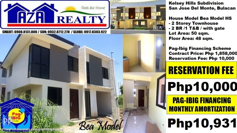 House for Sale - Php 10,931/Month 2BR Townhouse Bea Kelsey Hills San Jose Bulacan