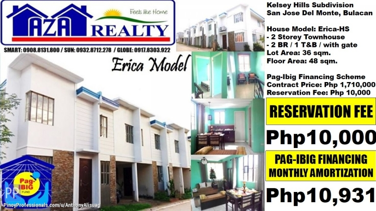 House for Sale - Php 10,208/Month 2BR Townhouse Erica Kelsey Hills San Jose Bulacan