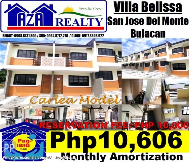 House for Sale - Php 10,606/Month Carlea 2 Storey Townhouse Villa Belissa San Jose Del Monte Bulacan