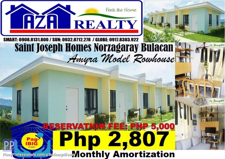 House for Sale - Php 2,807/Month Amyra Rowhouse Saint Joseph Homes Norzagaray Bulacan