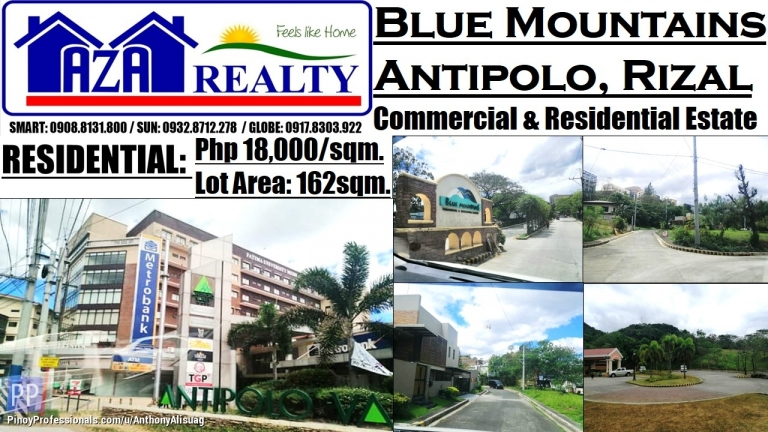 Land for Sale - Blue Mountains Residential Estates Lot Area 162sqm. Antipolo Rizal