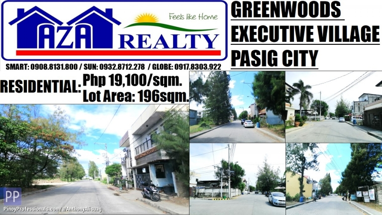 Land for Sale - Greenwoods Executive Village 196sqm. Residential Estates Pasig City