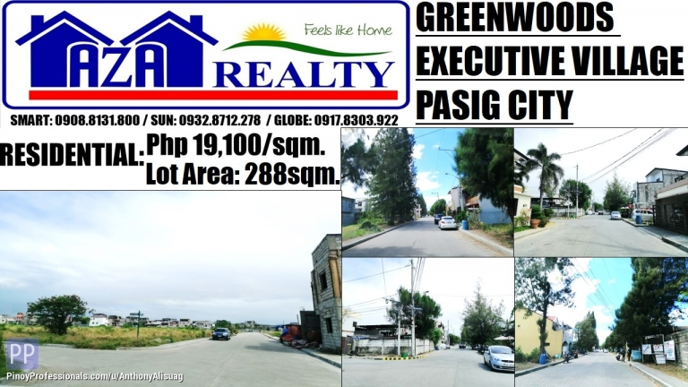 Land for Sale - Greenwoods Executive Village Vacant Lot 288sqm. Pasig City