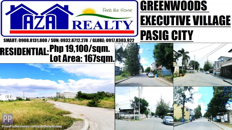 Land for Sale - Greenwoods Executive Village Lot Only 167sqm. Pasig City
