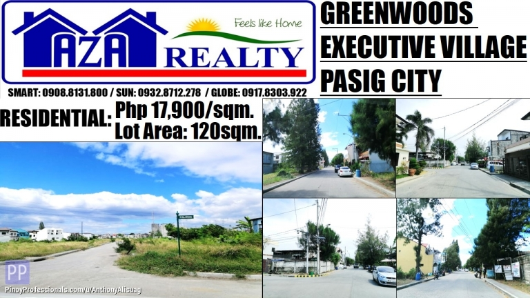 Land for Sale - Greenwoods Executive Village Residential Estates Lot For Sale 120sqm. Pasig City