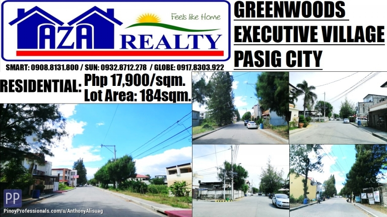 Land for Sale - Greenwoods Executive Village Residential Land 184sqm. Pasig City