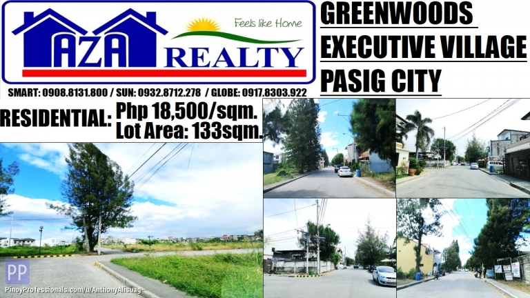 Land for Sale - Greenwoods Executive Village Property Lot Only 133sqm. Pasig City