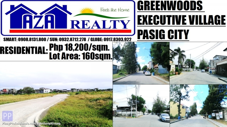 Land for Sale - Greenwoods Executive Village Real Estates Land For Sale 160sqm. Pasig City