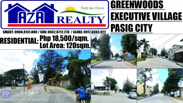 Land for Sale - Greenwoods Executive Village Residential Estates Land For Sale 120sqm. Pasig City