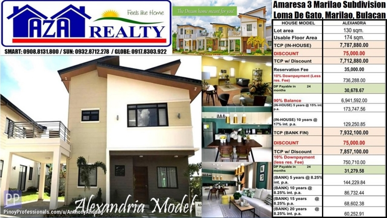 House for Sale - Php 35K Reservation 5BR Alexandria 174sqm. Amaresa 3 Marilao Bulacan