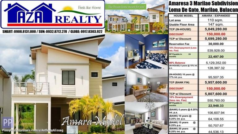 House for Sale - Php 30K Reservation 3BR Amara 147sqm. Amaresa 3 Marilao Bulacan