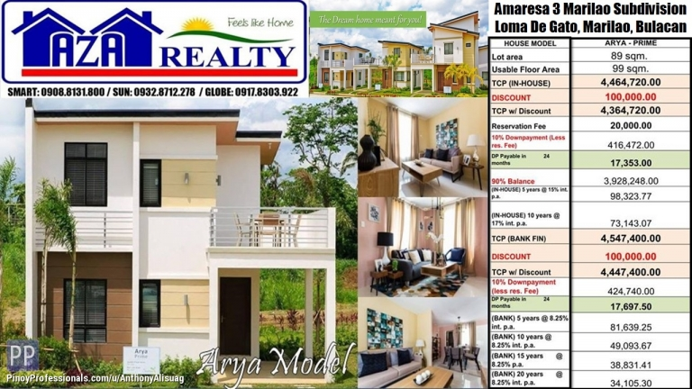 House for Sale - Php 20K Reservation 3BR Arya 99sqm. Amaresa 3 Marilao Bulacan