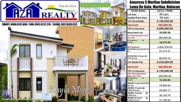House for Sale - Php 20K Reservation 3BR Kayla 94sqm. Amaresa 3 Marilao Bulacan