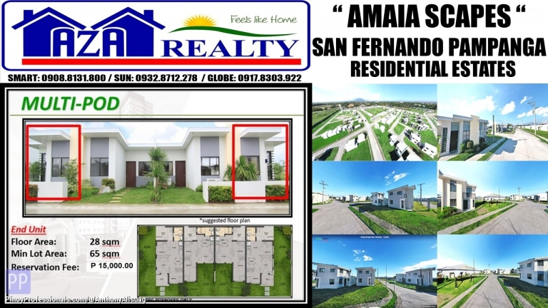 House for Sale - Php 15K Reservation Multi Pod End 65sqm. Amaia Scapes San Fernando Pampanga