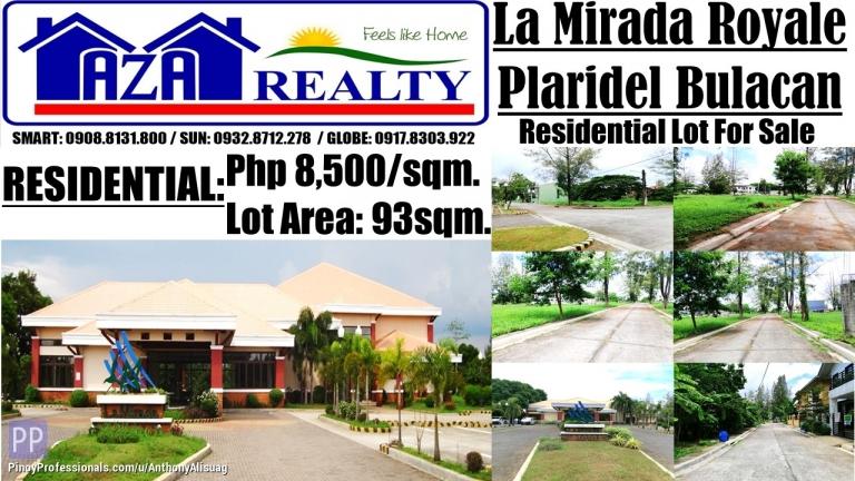 Land for Sale - Php 8,500/sqm. Residential Lot 93sqm. La Mirada Royale Plaridel Bulacan