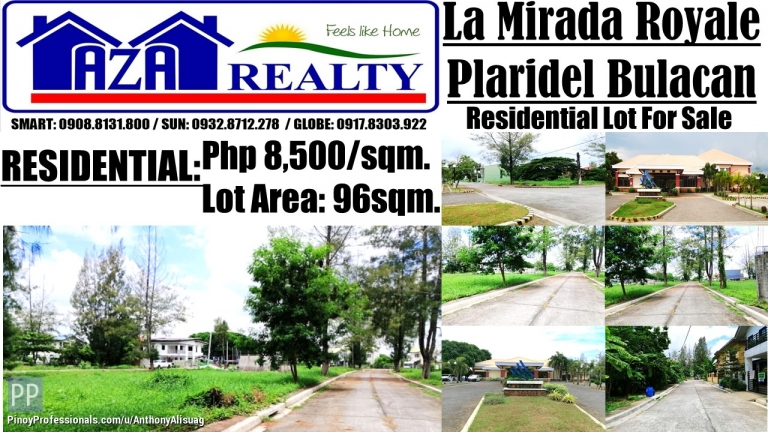 Land for Sale - Property Land Only 96sqm. at Php 8,500/sqm. La Mirada Royale Plaridel Bulacan