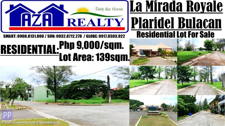 Land for Sale - Php 9,000/sqm. Real Estate Land For Sale 139sqm. La Mirada Royale Plaridel Bulacan