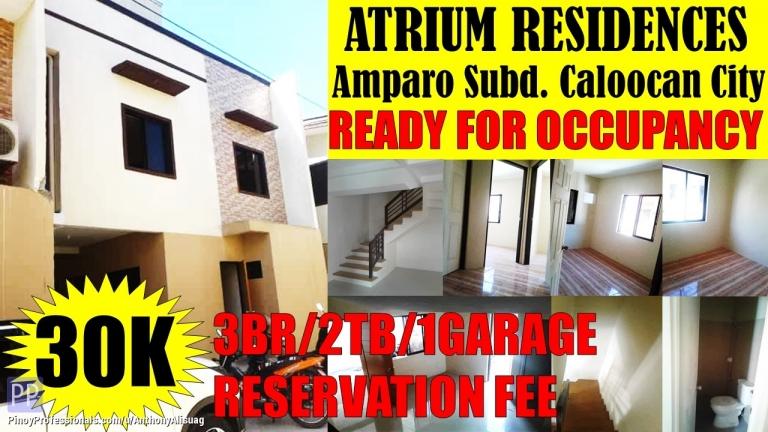 House for Sale - 3BR Townhouse Atrium Residences Amparo Caloocan City