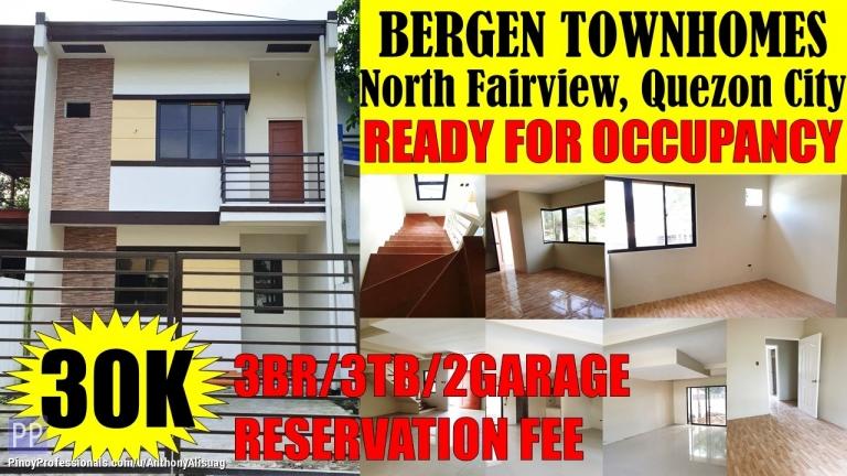 House for Sale - 3BR Townhouse Bergen Townhomes North Fairview Quezon City