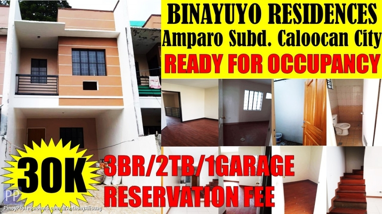 House for Sale - 3BR Townhouse Binayuyo Residences Amparo Caloocan City