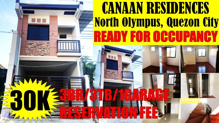 House for Sale - 3BR Townhouse Canaan Residences North Olympus Quezon City
