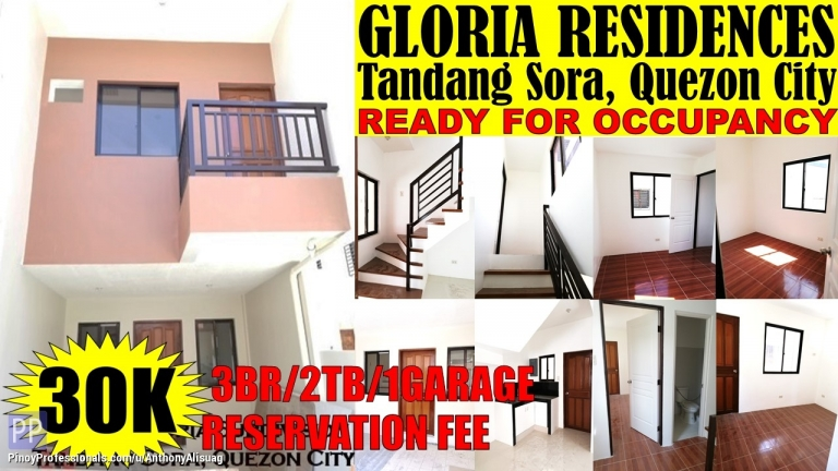 House for Sale - 3BR Townhouse Gloria Taas Residences Tandang Sora Quezon City