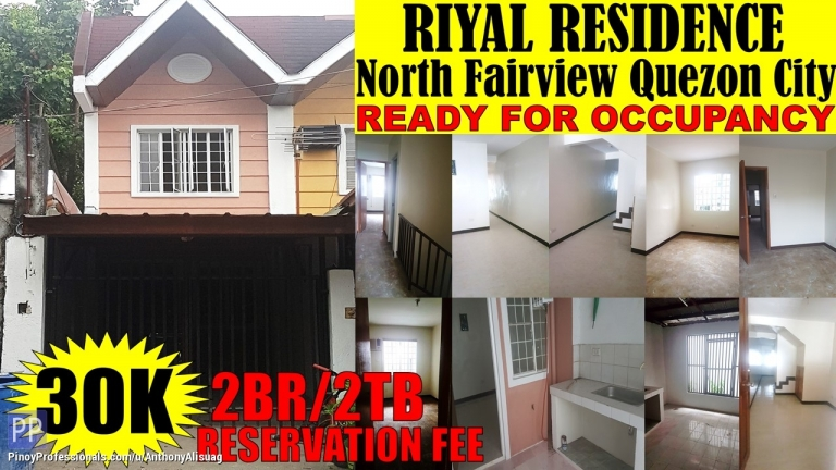 House for Sale - 2BR Townhouse Riyal Residences North Fairview Quezon City