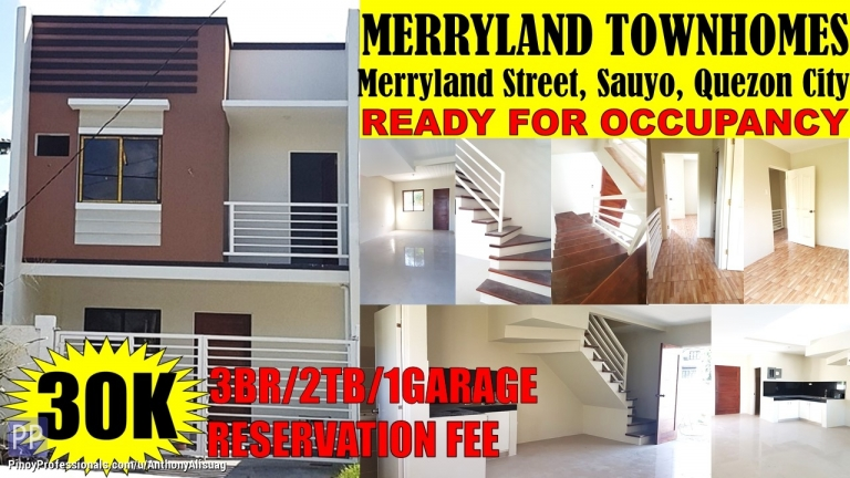 House for Sale - 3BR Townhouse Merryland Townhomes Sauyo Quezon City