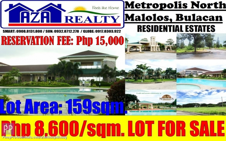 Land for Sale - Vacant Residential Lot For Sale 159sqm. Metropolis North Malolos Bulacan