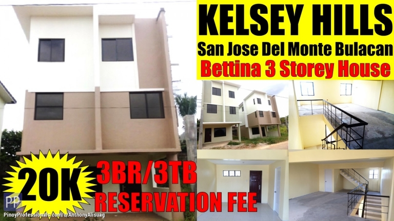 House for Sale - 3Storey 3BR 125sqm. Bettina Kelsey Hills San Jose Del Monte Bulacan