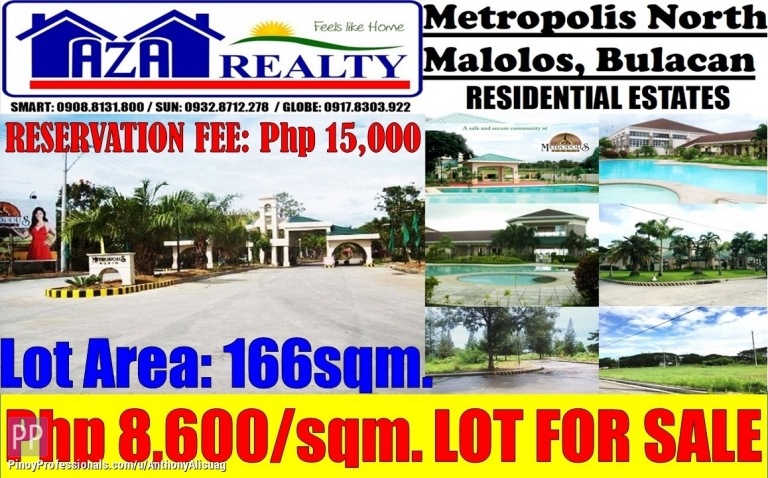 Land for Sale - Vacant Lot For Sale 166sqm. Metropolis North Malolos Bulacan